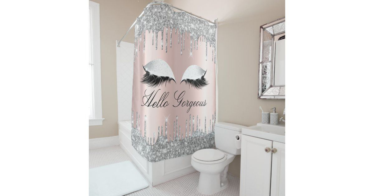 Name Eyelashes Makeup Silver Rose Girly Drips Shower Curtain