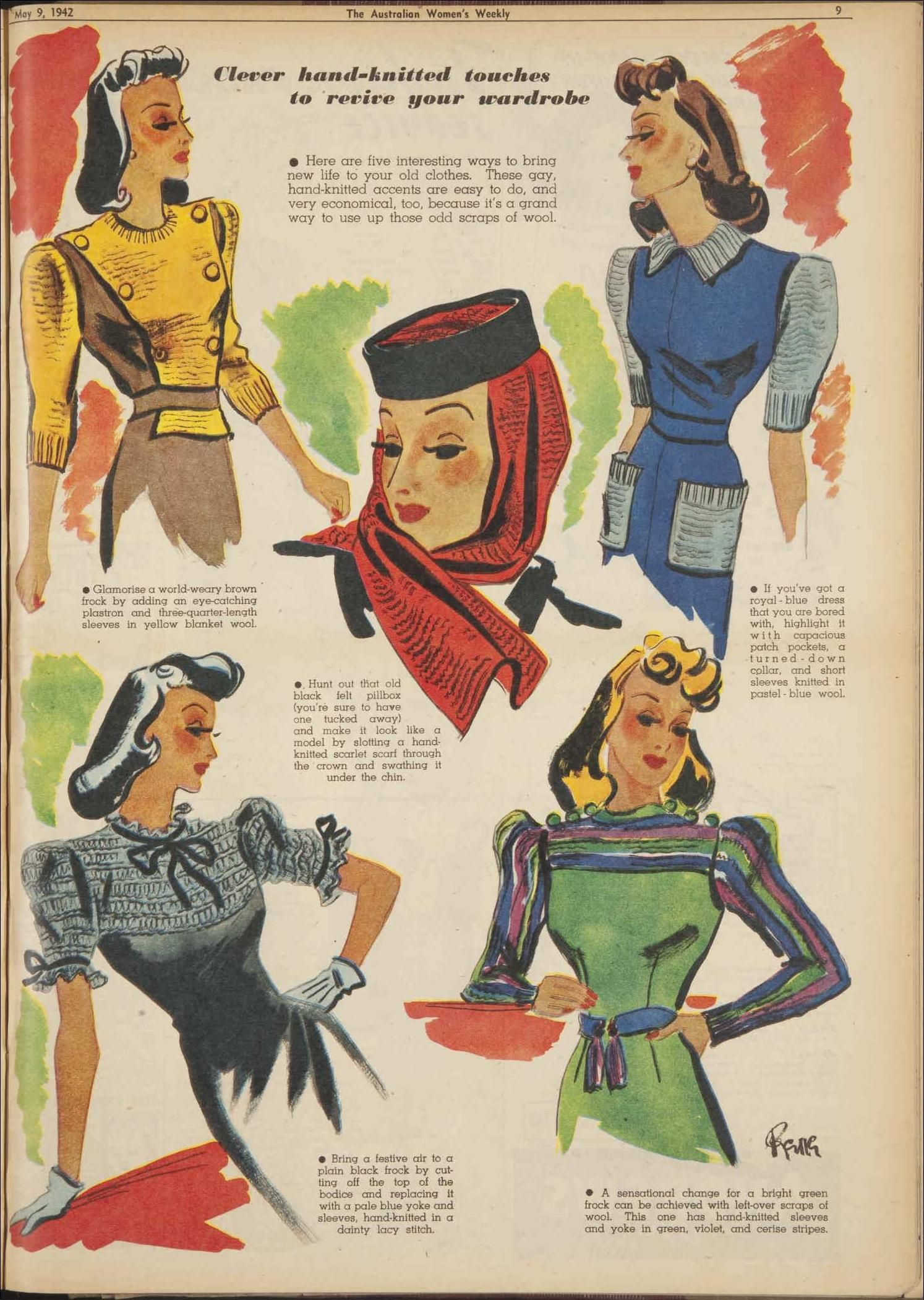 clever hand-knitted touches to revive your warwrobe, May 1942 - The Australian Women's Weekly