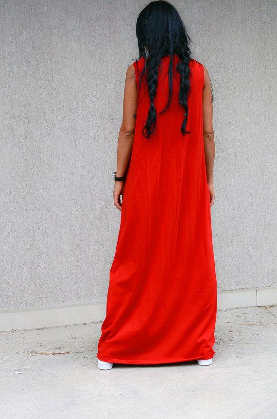 056332b67fe9 red long loose dress, kaftan maxi dress, Kaftan Dress, bohemian dress,  bohemian maxi dress, long loose dress, oversized dress, evening gown Jersey  ...