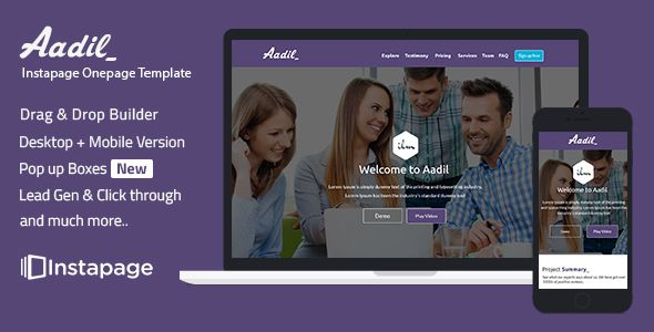nice instapage Onepage Template - Aadil (Instapage)