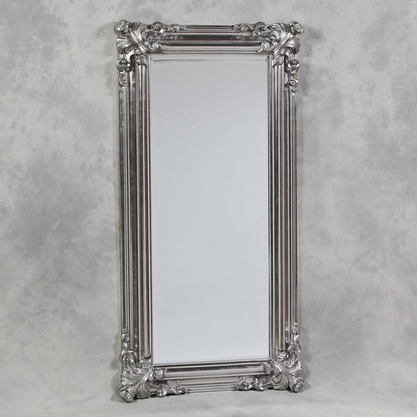 Silver French Ornate Cornered Tall Floor Standing Mirror$E339 ...