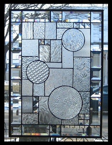 Beveled Abstract Stained Glass Window Panel Geometric Ebsq Ar