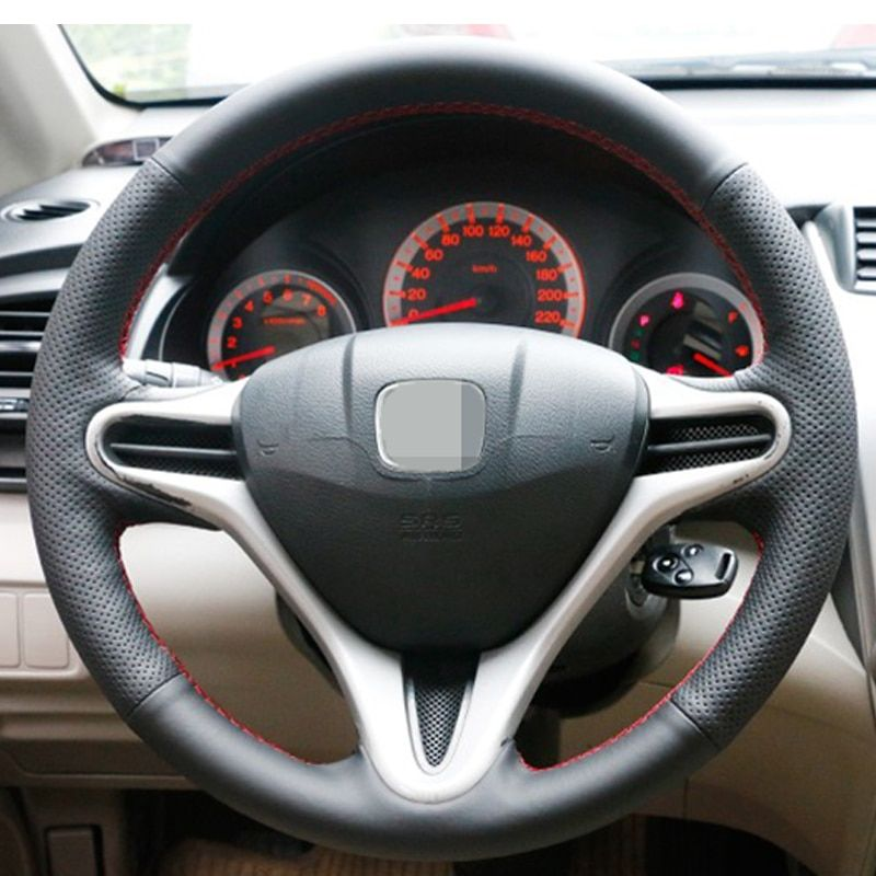 Appdee Black Artificial Leather Car Steering Wheel Cover For Honda Fit 2009 2013 City Jazz Review Steering Wheel Cover Car Steering Wheel Cover Honda Fit