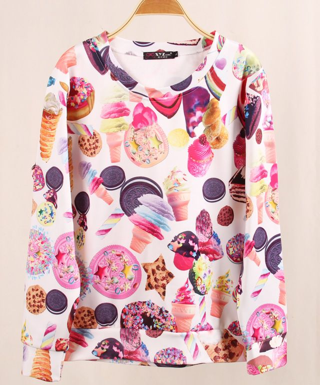 Cute kawaii 3D Ice Cream Harajuku Printed Fleece Sweatshirt We  ...