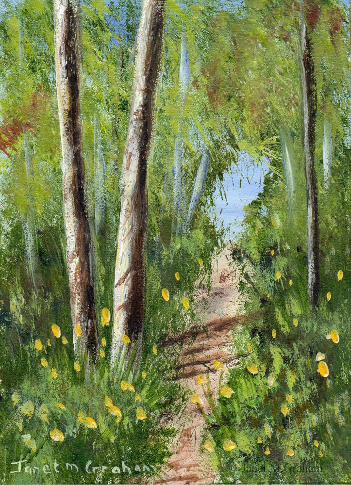 Woodland path aceo forest flowers original landscape aceo for Painting a forest in acrylics