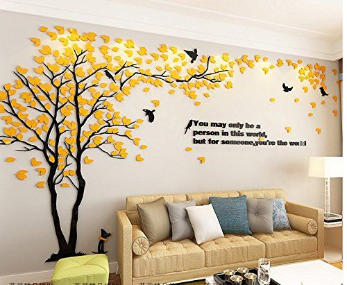 Sis Tree Birds Acrylic Diy Wall Stickers 3d Wall Deca Https Www Amazon Com Dp B01n5mnln9 Ref Family Tree Wall Art Wall Painting Decor Warm Home Decor