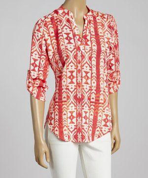 Look at this #zulilyfind! Neon Coral Tribal Three-Quarter Sleeve Top by Adrienne #zulilyfinds