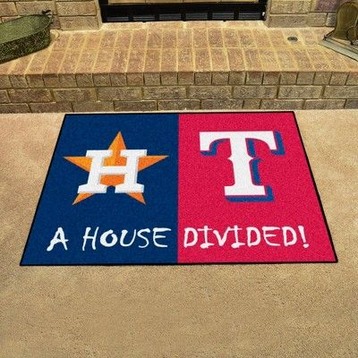 Mlb Houston Astros Texas Rangers House Divided Rug 33 75 X42 5 House Divided Texas Rangers Anaheim Angels