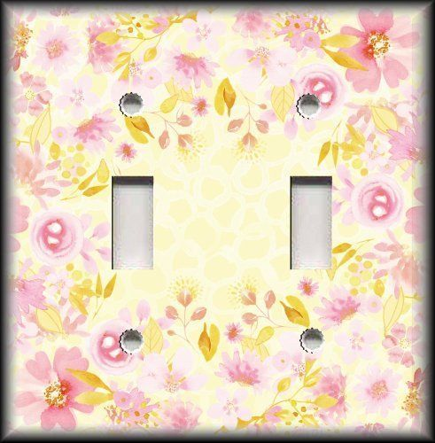 Light Switch Plate Cover - Framed Watercolor Flowers Decor - Light ...