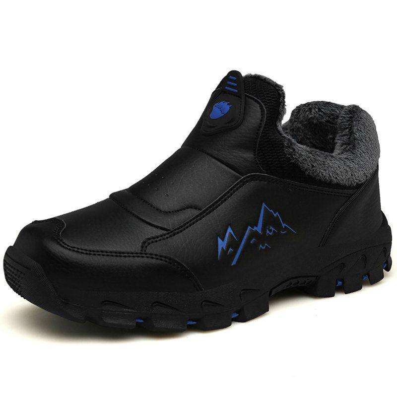 d2ef8026 Men Plush Lining Leather Non-slip Slip On Warm Casual Hiking ...