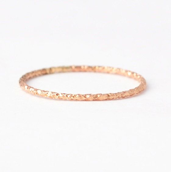 Textured Rose Gold Ring Simple Band Gold Filled Jewelry Gift