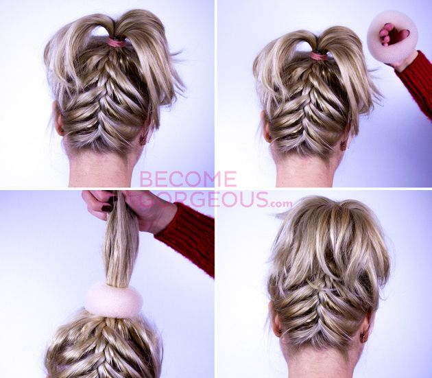 Upside Down French Braid Updo Hairstyle Braided Hairstyles Updo Hair Styles Hair Tutorial