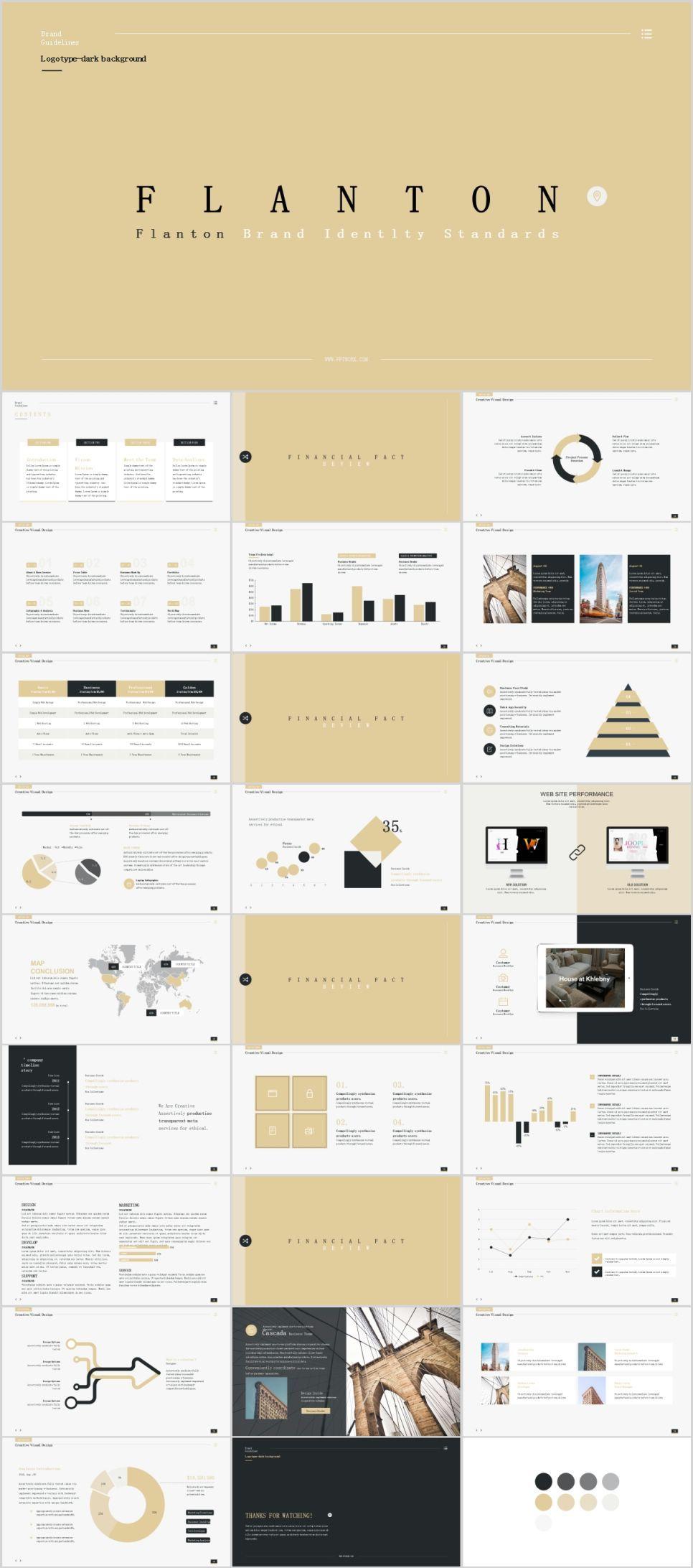 28 Beige Fashion Annual Work PowerPoint Template