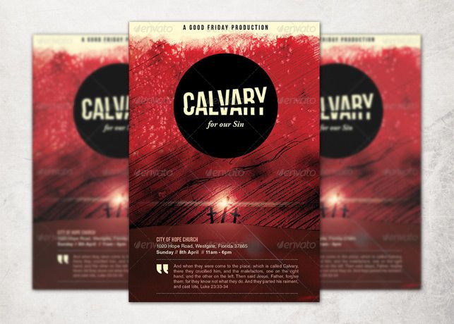Calvary For Our Sins Church Flyer And Cd Template Is Great For Any