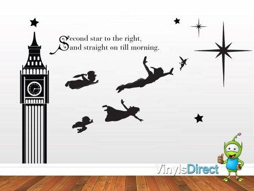 Peter Pan Decal J. M. Barrie Inspired Wall Decal Sticker SKU0134 ...