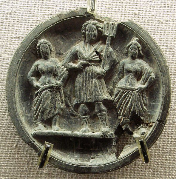 Indo-Greek stone palette with Poseidon/Neptune. Dated 2nd-1st century BCE. Ancient Orient Museum.