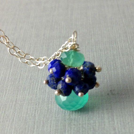 Gemstone Necklace Cluster Necklace Lapis by anatoliantaledesign, $35.00