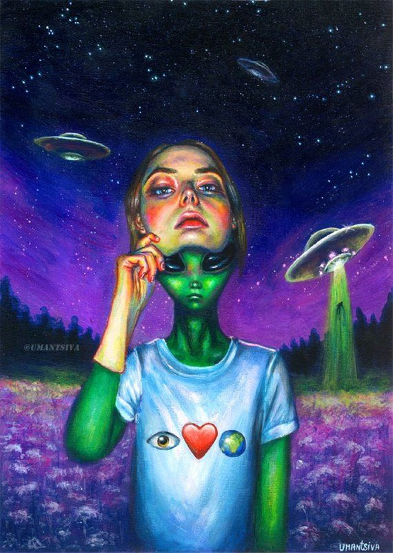 Original acrylic painting, painting on canvas board, acrylic on canvas, unique painting, alien girl