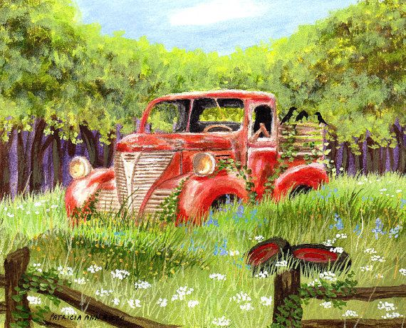 Old Red Truck Abandoned In A Field Print By By Tinypainter On Etsy