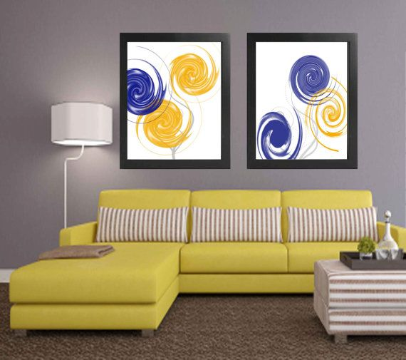Yellow Navy and white modern home decor. Print and put in a frame to ...