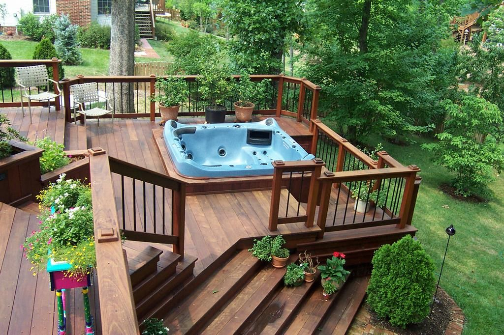 Deck with a hot tub ahhhh love it this is exactly for Spa deck design