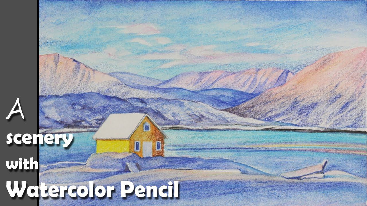 How To Paint A Rocky Mountain Scenery With Watercolor Pencil Watercolor Pencils Watercolor Beginner Watercolor