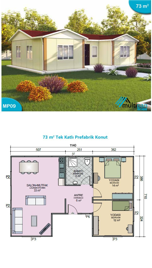 MP9 73m2 2 Bedrooms 1 Bathroom Combined Lounge / Kitchen