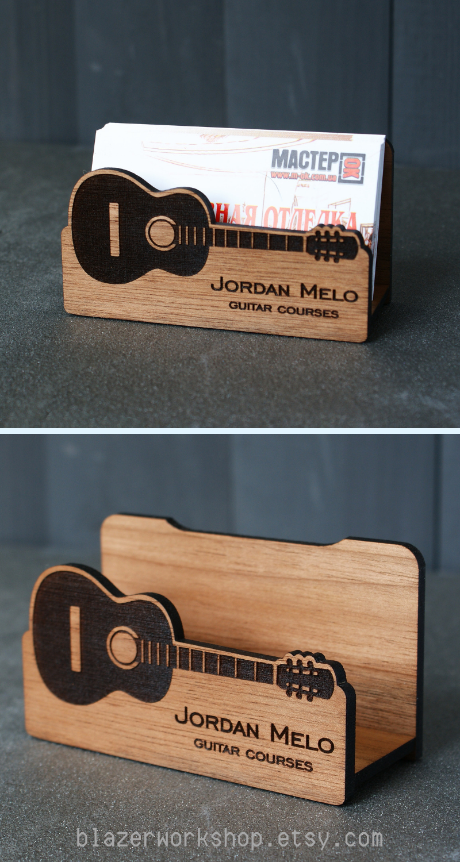 Guitar Teacher Gift Personalize Guitarist Business Card Holder Music Desktop Case Custom Cardholder