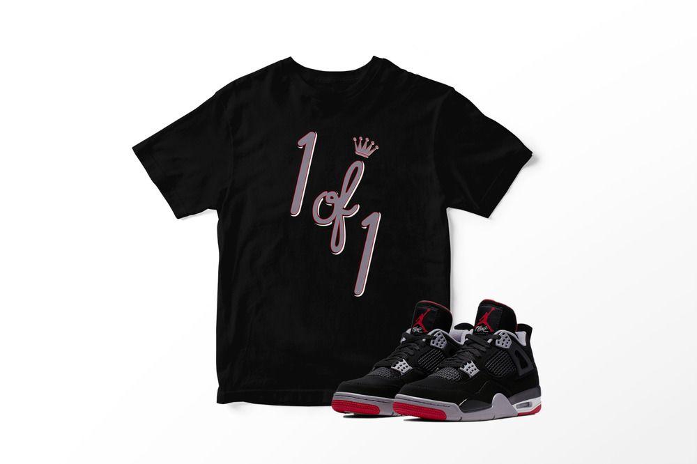 1 of 1 Tee Shirt to Match Retro Air Jordan IV Bred Shoe Mens