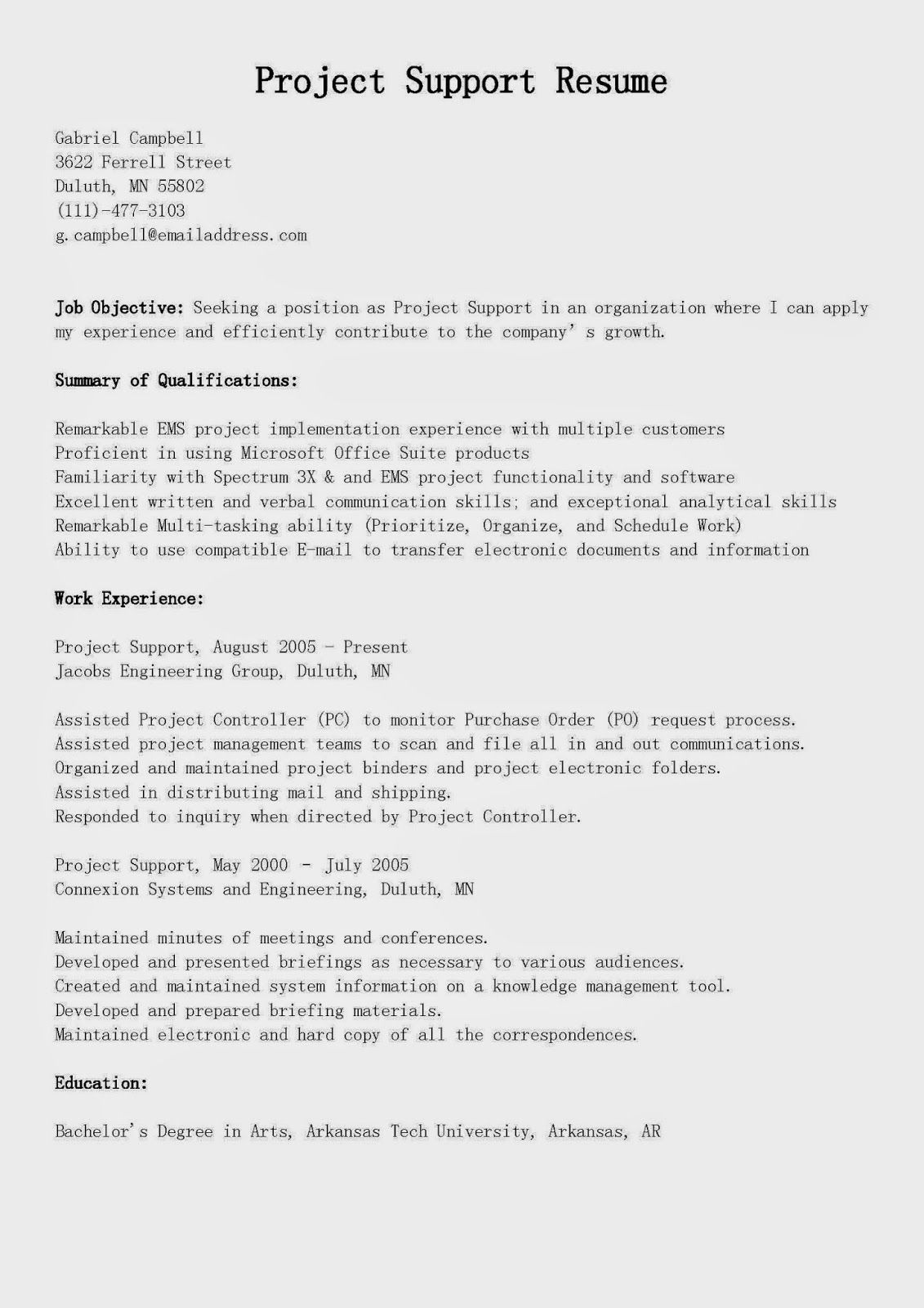 Project Support Resume Sample Resume Supportive Sample