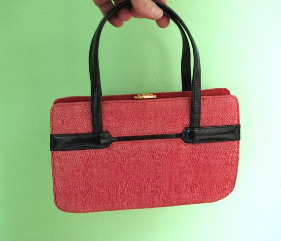 Vintage Handbag Purse By Lazarus Made In Italy Red Tweed With Black Patent Leather Detail Retrowarehouse On Etsy