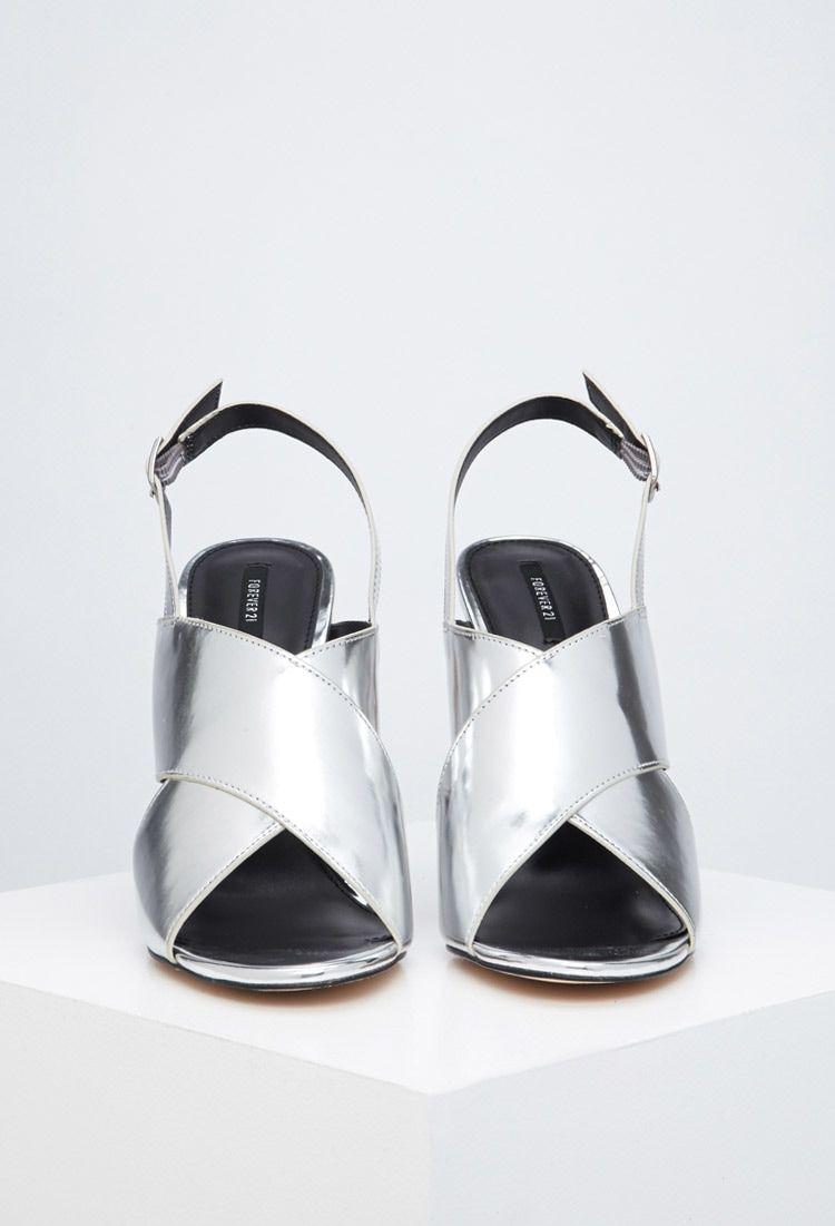 Metallic Crisscross Stiletto Sandals