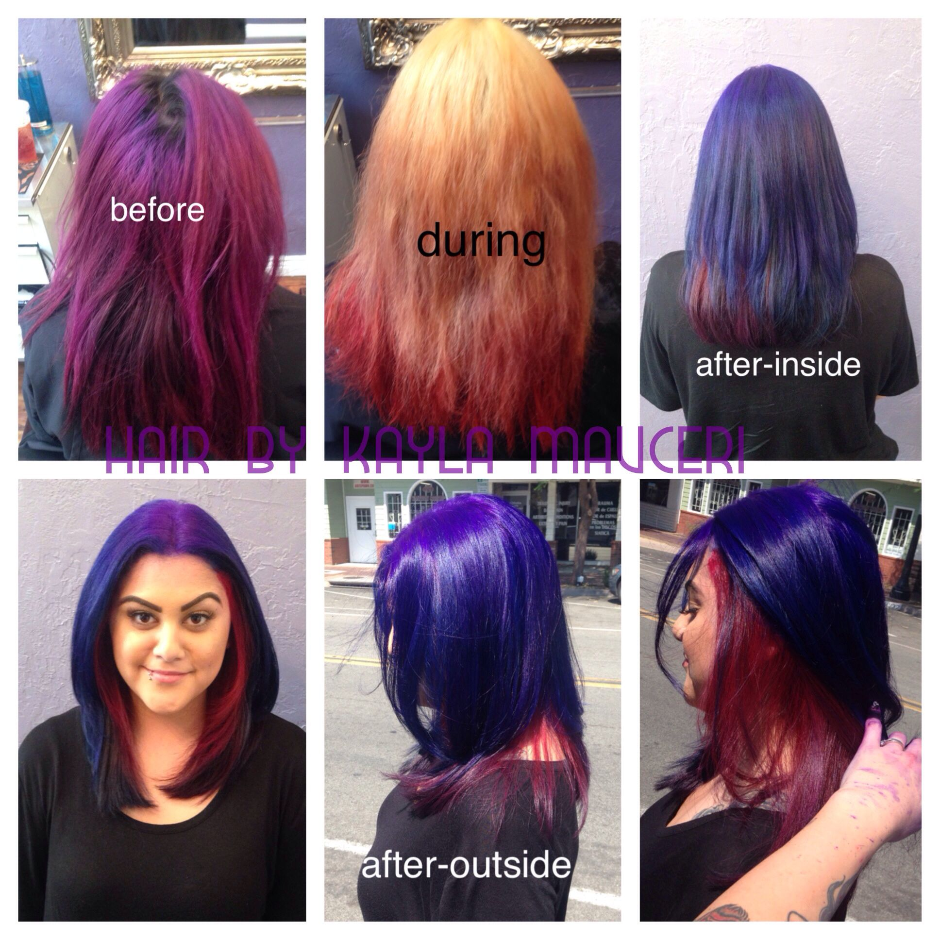 Purple blue and red hair with pravana vivids colored hair