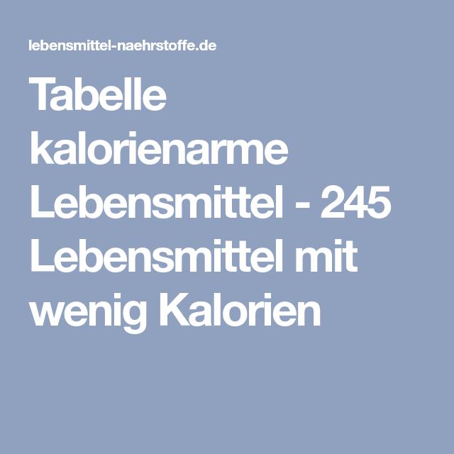 kalorienarme lebensmittel tabelle