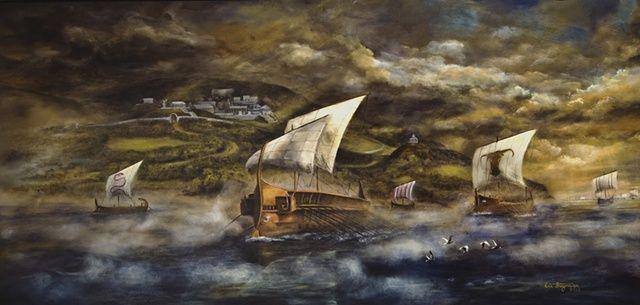 Greek Ships Trojan War Greek Ships Leave The Port City