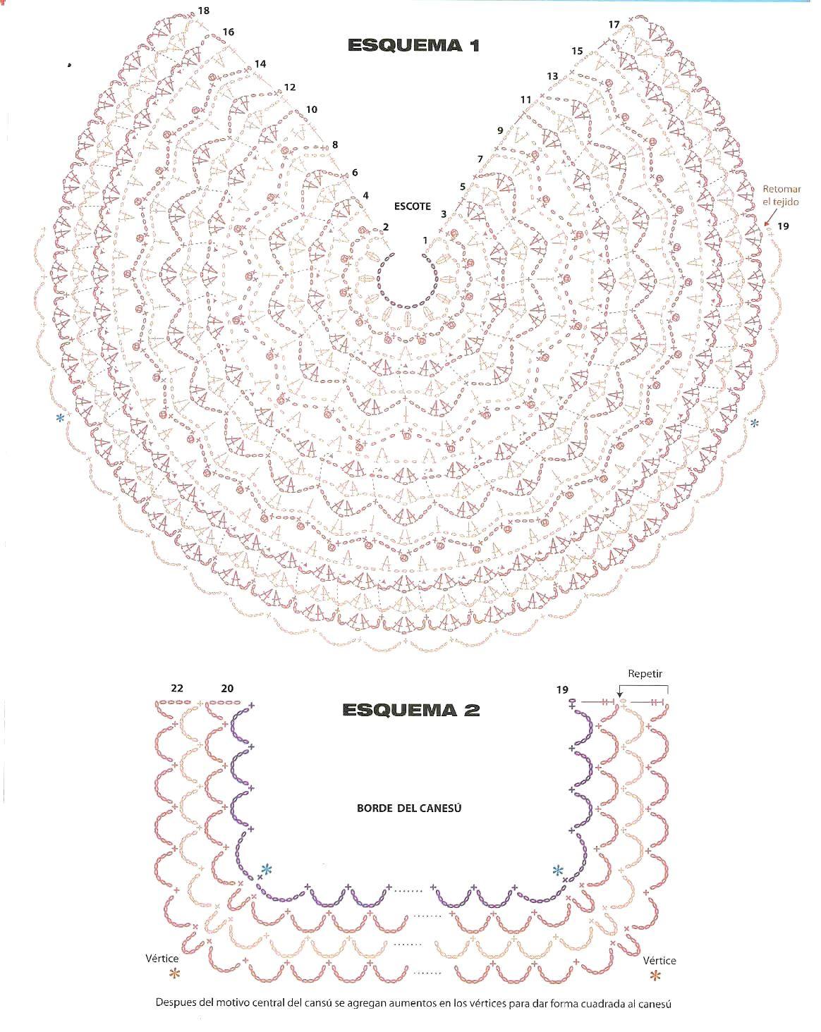 Top circular 2 piezas iguales delantera y espalda - Patrones Crochet ...