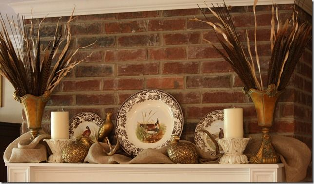 Antlers, brown transferware, burlap....love it all!