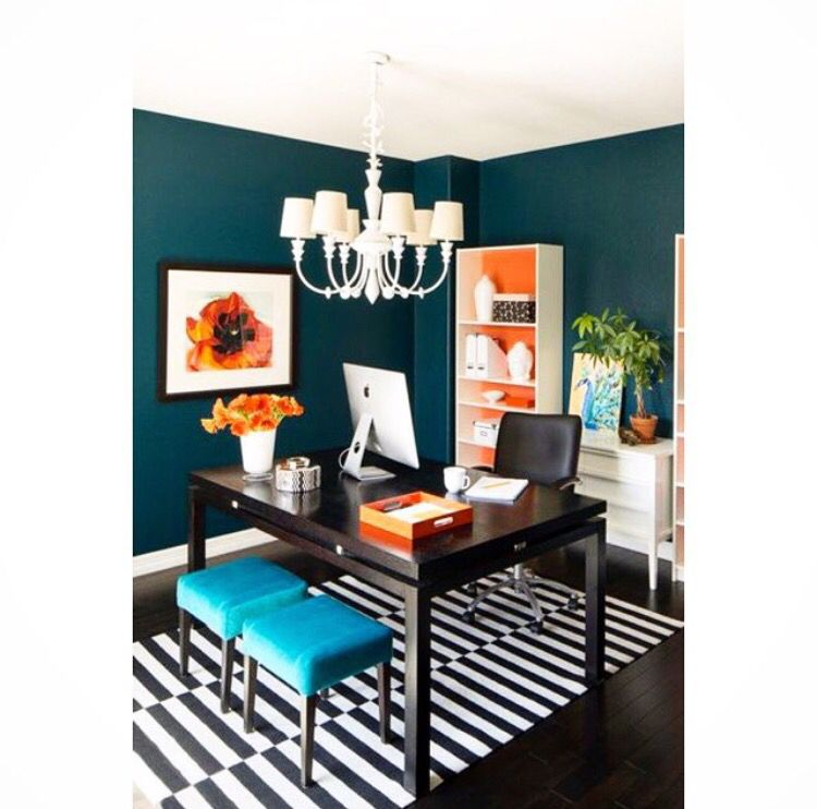 7 Tips For Home Office Lighting Ideas: Modern Home Office ! Dark Green With Orange And Blue