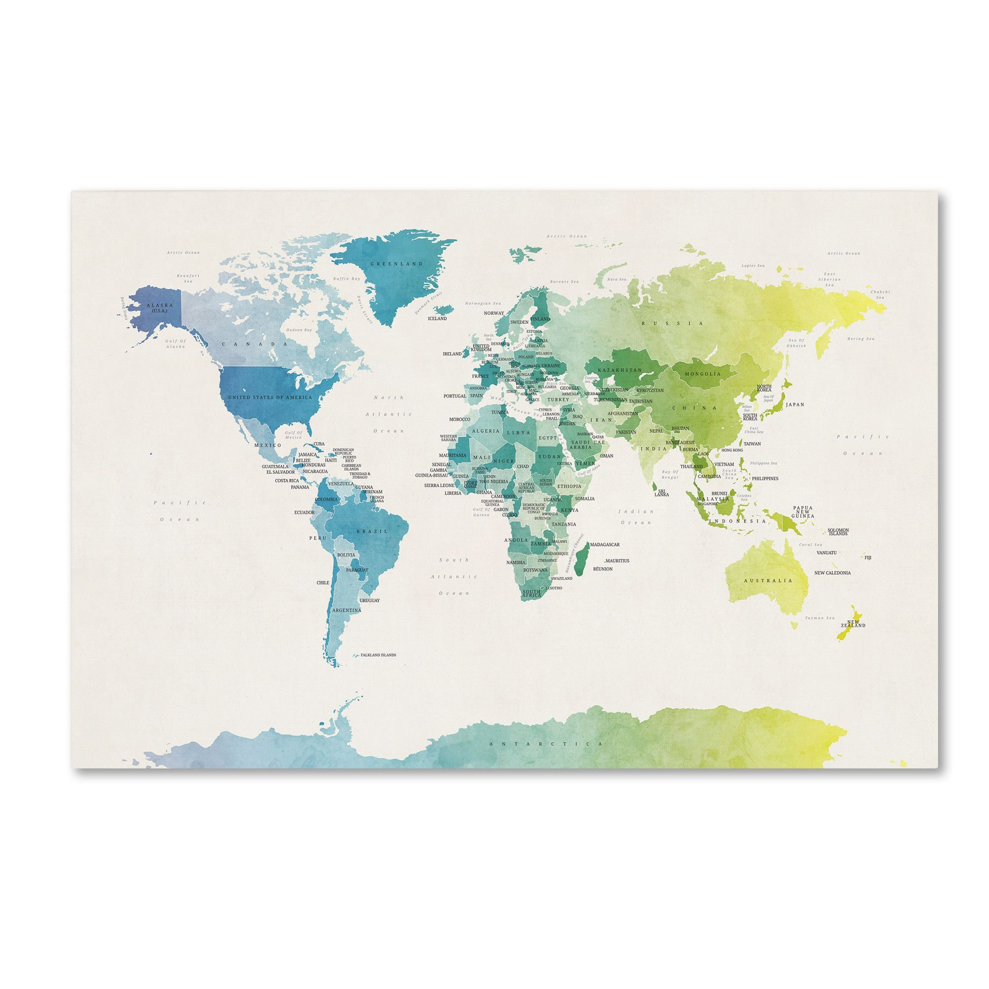Watercolour political map of the world 2 by michael tompsett graphic watercolour political map of the world 2 by michael tompsett graphic art on wrapped canvas gumiabroncs Image collections