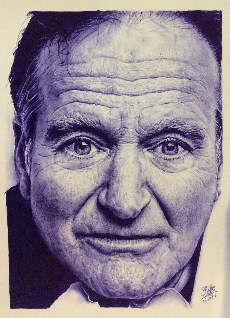 Ballpoint pen drawing of robin williams by chaseroflight on