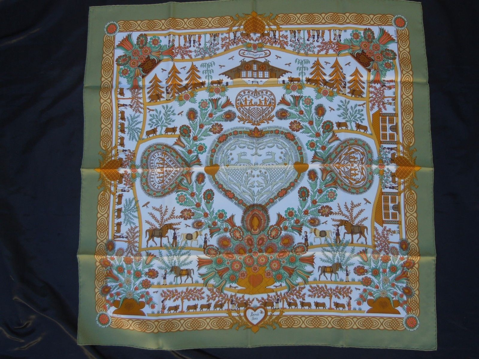 Hermès foulard carré soie découpages Anne Rosat Hermes France authentique    eBay e839ab29ff4