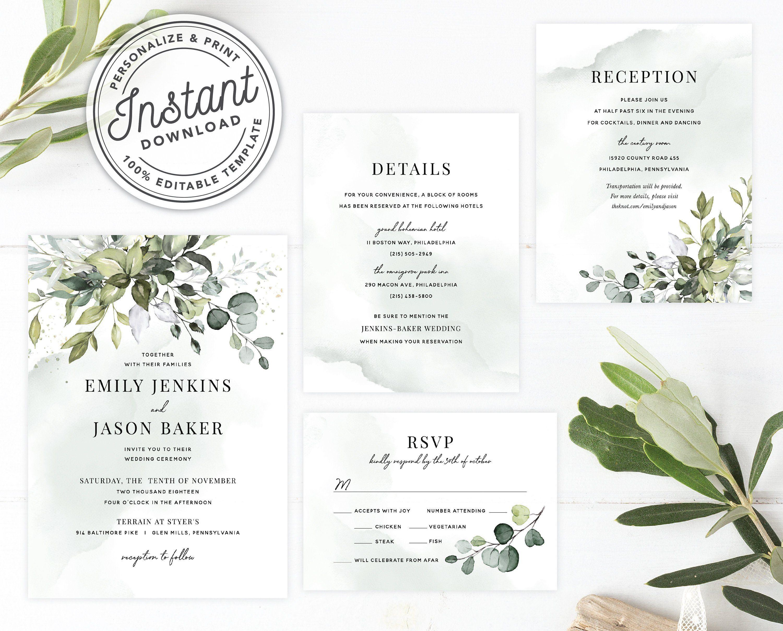 2b7f1f4f39b31 Watercolor Boho Greenery Wedding Invitation Template Suite with ...