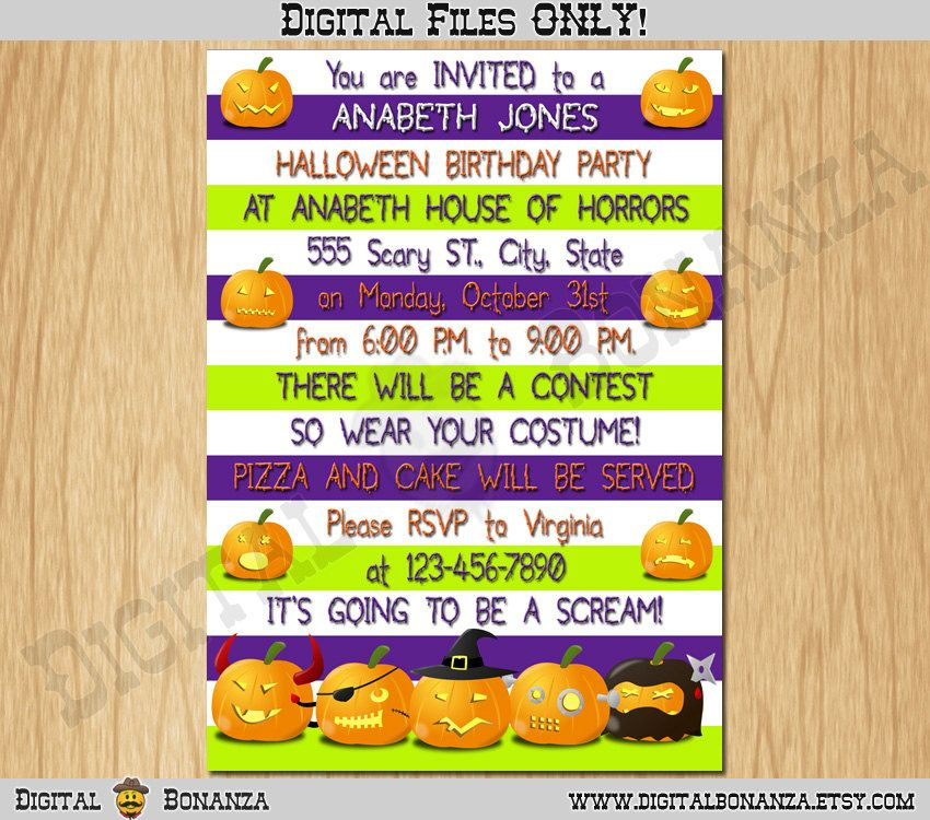 Halloween Invitation Kids Halloween Party Invite Costume Party Kids ...