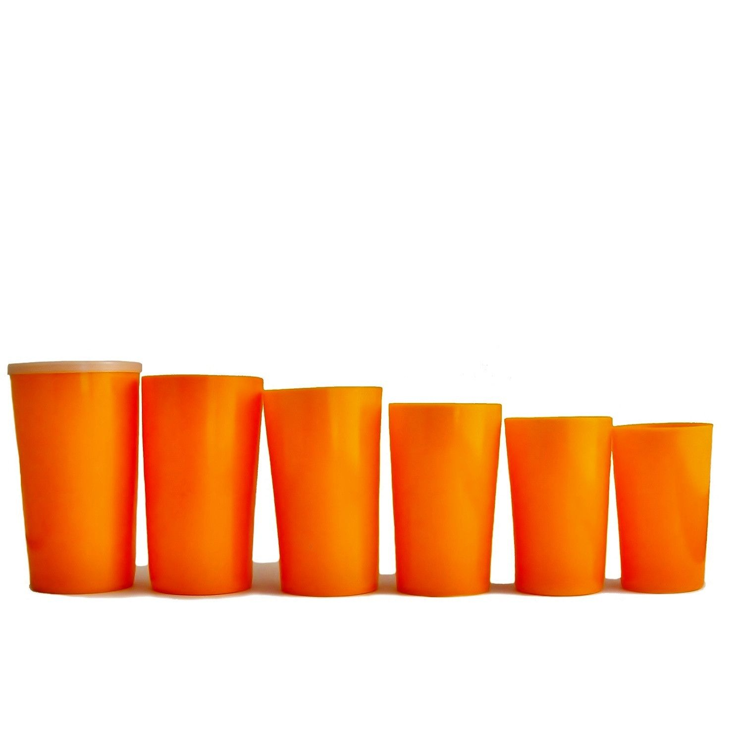 Six stacking cups great for camping or for folks on the go. Each tumbler is smaller than the next and conveniently nests inside the other, topped off with a handy dandy lid to keep things together.