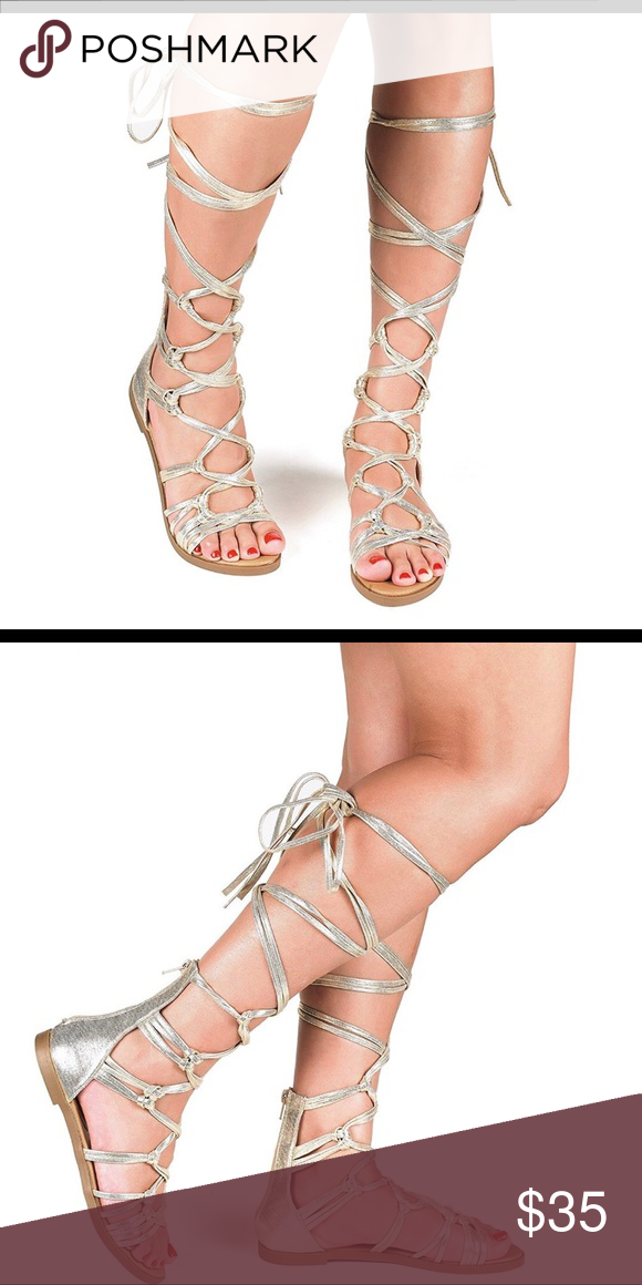 c634f18d5de72 Gold Gladiator strapping sandals String up knee high Gold sandals. New with  box. Shoes Sandals