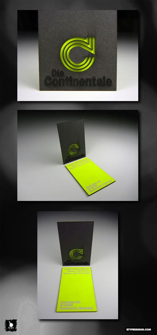 Die Continentale Bold Neon Card Design Business Card