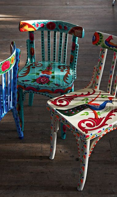 painted children's chairs. peacock, turquoise, peasant style, bohemian....