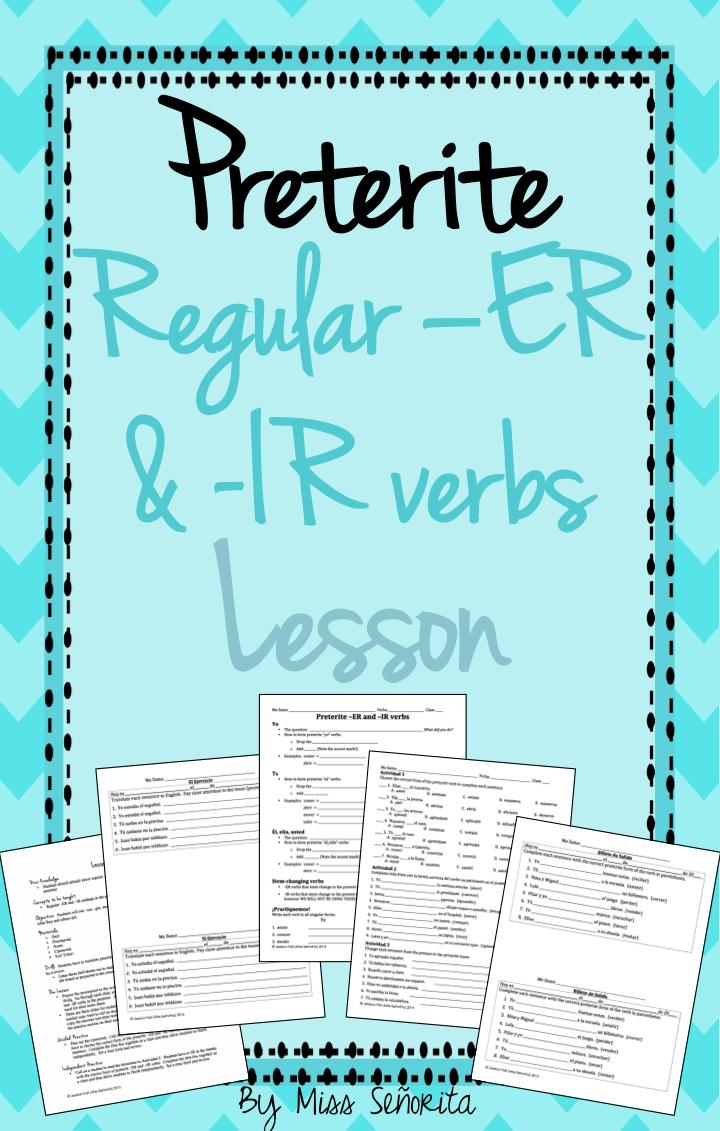 Spanish Preterite Er Ir Verbs Lesson Verbs Lessons Preterite Spanish Teacher Resources [ 1131 x 720 Pixel ]
