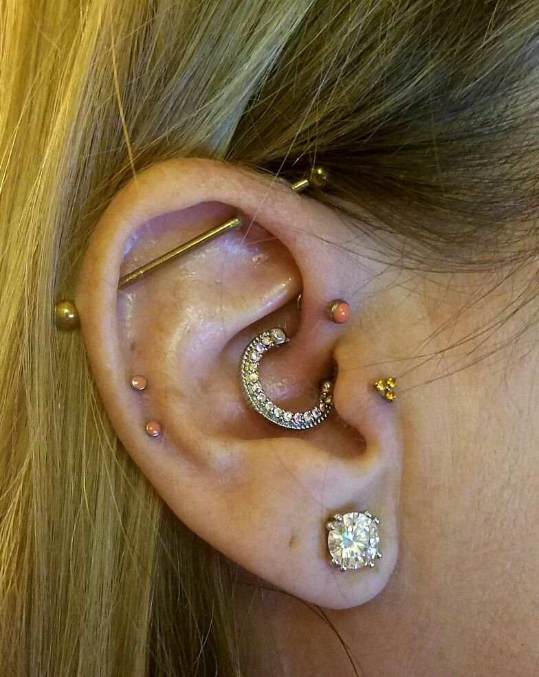 Industrial, daith, forward helix, tragus & double helix piercings