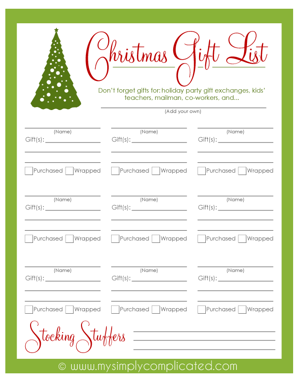 Download this free printable Christmas Gift List to keep track of ...